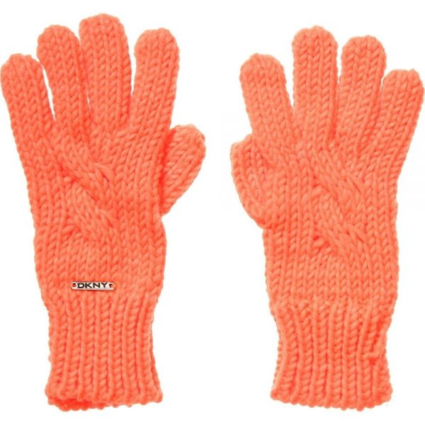 DKNY Neon Orange Knitted Gloves