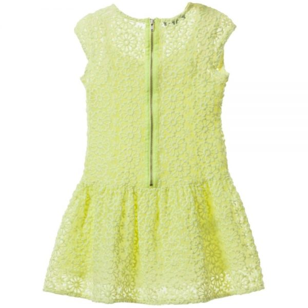 DKNY Neon Yellow Floral Embroidered Dress 1