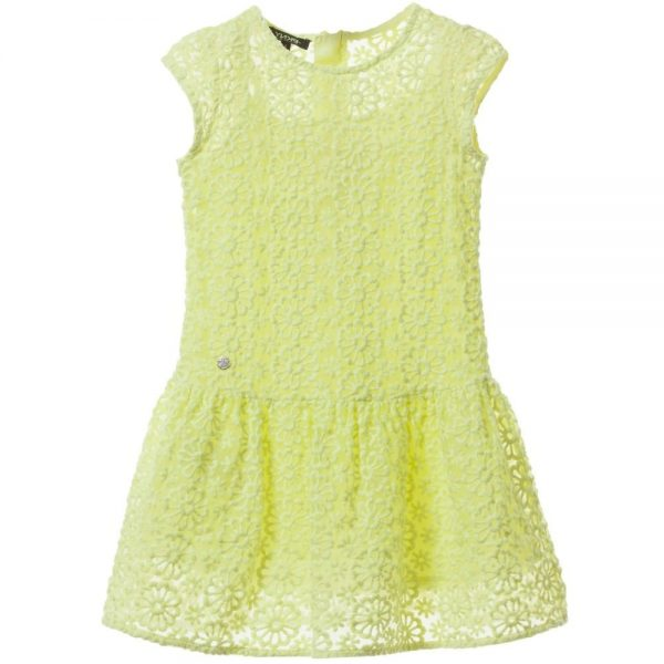 DKNY Neon Yellow Floral Embroidered Dress