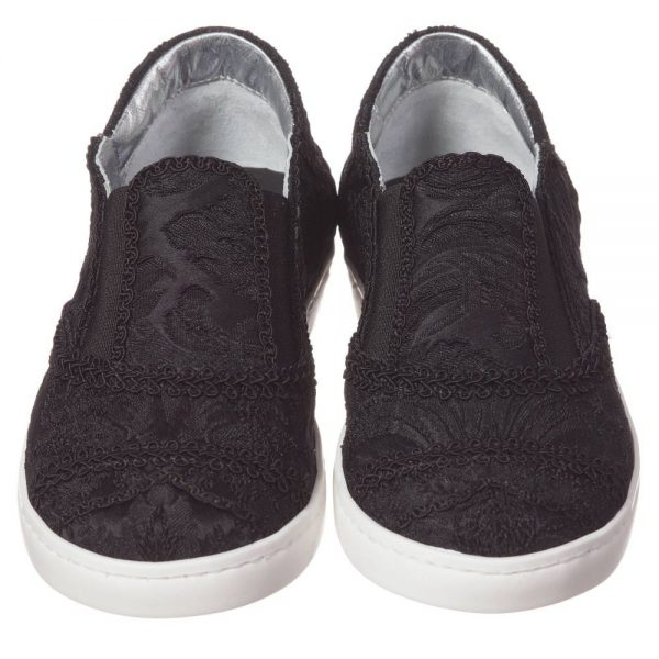 DOLCE & GABBANA Boys Black Brocade Slip-On Trainers 1