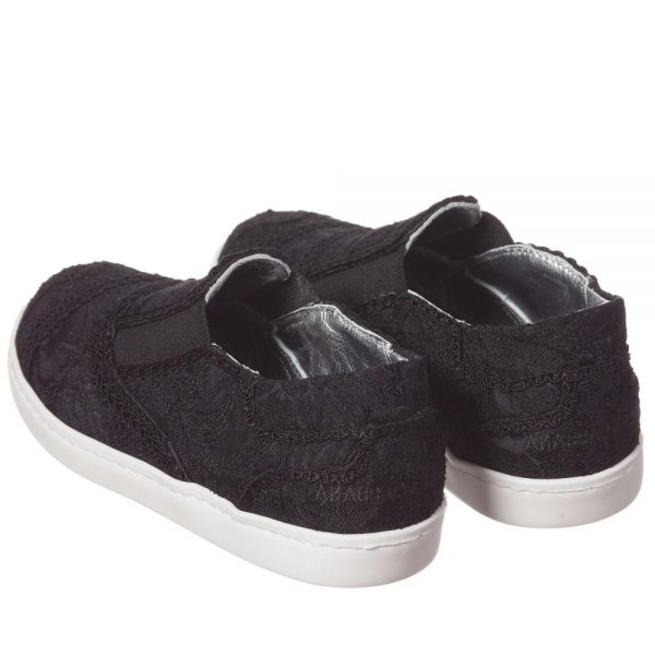 DOLCE & GABBANA Boys Black Brocade Slip-On Trainers 2