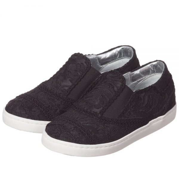 DOLCE & GABBANA Boys Black Brocade Slip-On Trainers