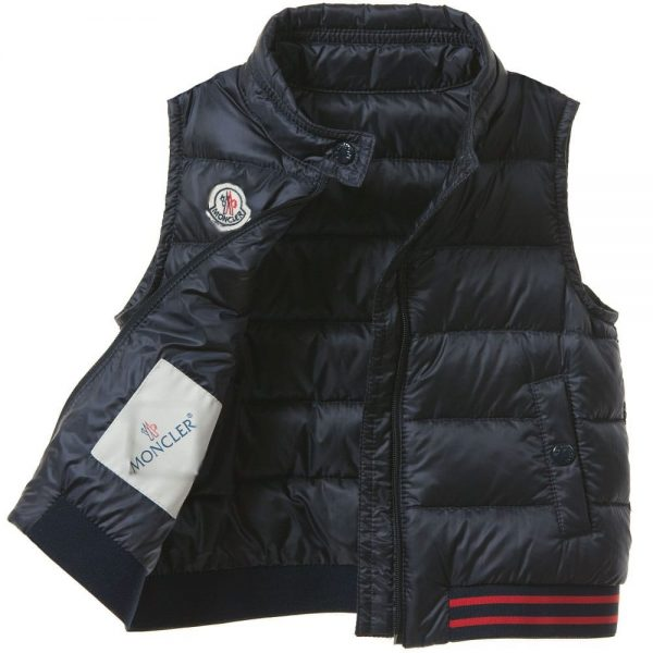 MONCLER Baby Boys Navy Blue 'Titouan' Down Padded Gilet