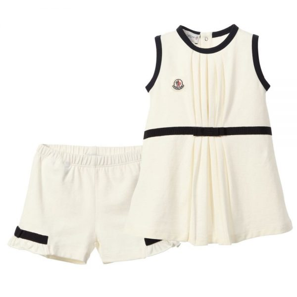 e1b696f3b MONCLER Baby Girls Ivory Jersey Dress with Bloomers