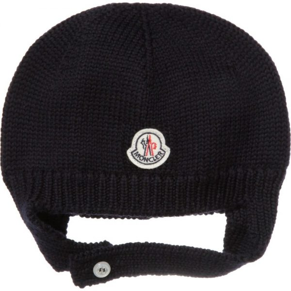 MONCLER Navy Blue Wool Baby Hat - Children Boutique 8f913388b59