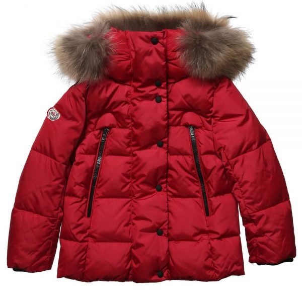 big sale ae1e6 b072e MONCLER Red Down Padded Puffer Jacket with Fur Trim