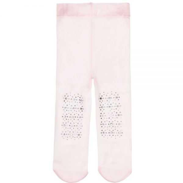 MONNALISA BEBE Baby Girls Pale Pink Fine Tights with Diamante