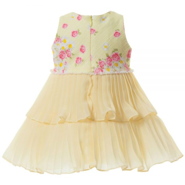 MONNALISA BEBE Yellow Pleated Chiffon Dress