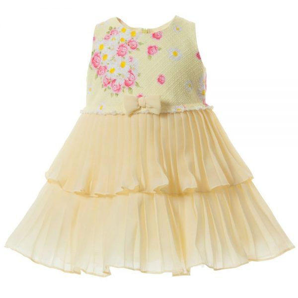 MONNALISA BEBE Yellow Pleated Chiffon Dress1