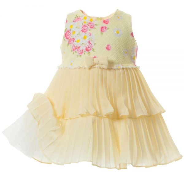 MONNALISA BEBE Yellow Pleated Chiffon Dress2