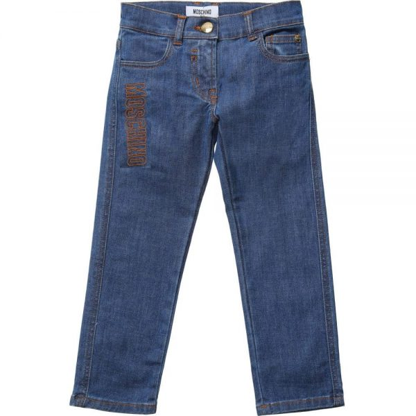 MOSCHINO KID-TEEN Boys Blue Jeans 'No Dinosaurs' Patch