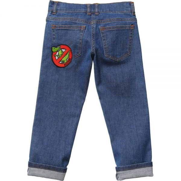 MOSCHINO KID-TEEN Boys Blue Jeans 'No Dinosaurs' Patch2
