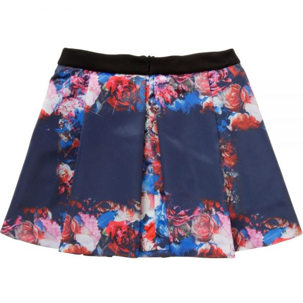 MSGM Blue Floral Satin Skirt