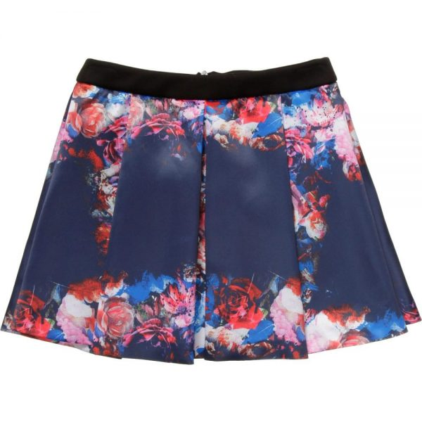 MSGM Blue Floral Satin Skirt2
