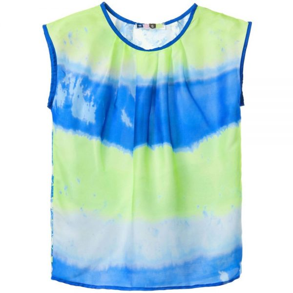 MSGM Girls Blue & Yellow Tie Dye Floral Top