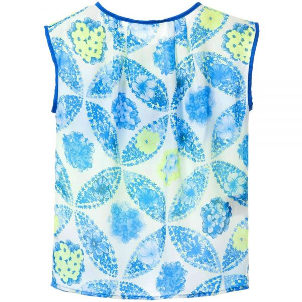 MSGM Girls Blue & Yellow Tie Dye Floral Top1