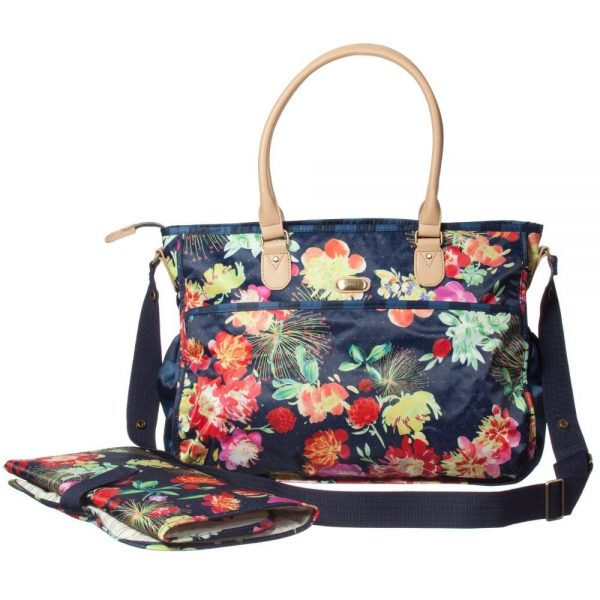 OILILY Blue Floral Baby Changing Bag & Mat (42cm)