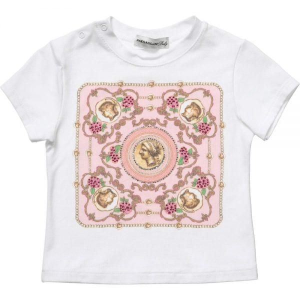 PAESAGGINO Baby Girls White T-Shirt with Pink Fret Print