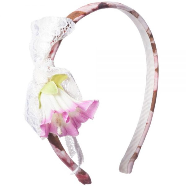 PAESAGGINO Girls Pink Floral Hairband1