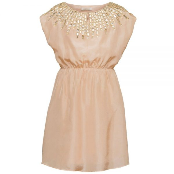 PALE CLOUD Peach Silk Dress with Jewelled Neckline