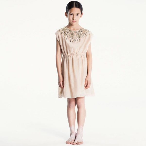 PALE CLOUD Peach Silk Dress with Jewelled Neckline2