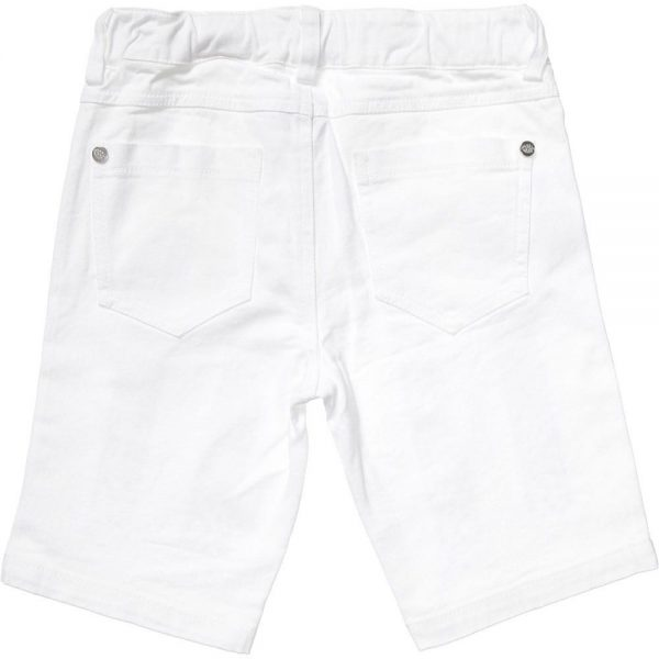 PARROT Girls White Cotton Shorts with Blue Jewels1