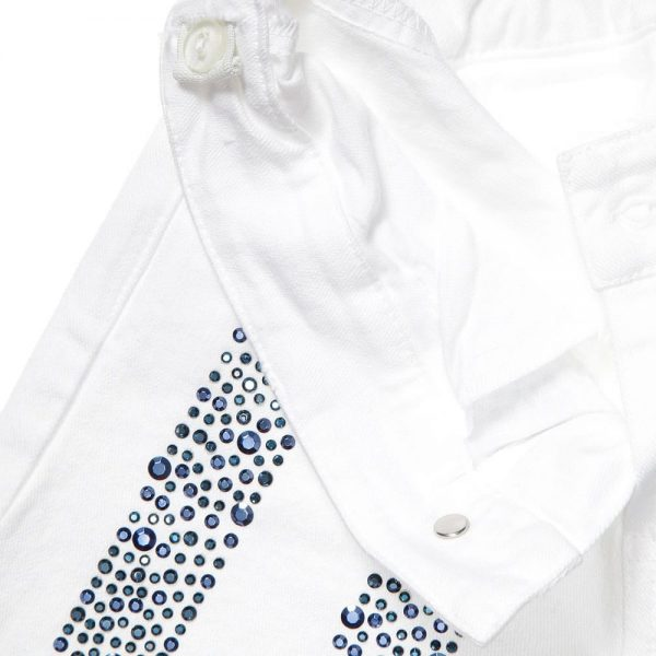 PARROT Girls White Cotton Shorts with Blue Jewels2