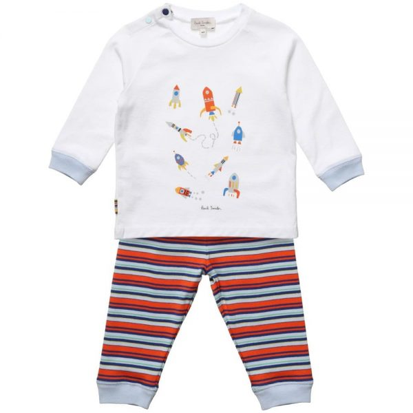 PAUL SMITH JUNIOR Baby Boys White & Striped 'Heloi' Outfit