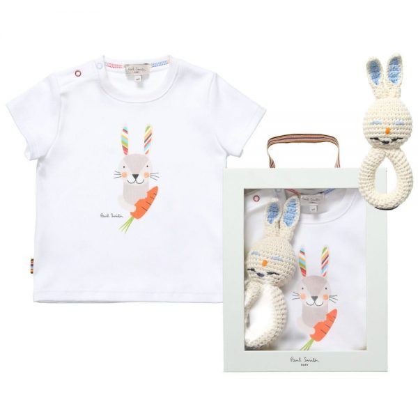 PAUL SMITH JUNIOR Unisex White Rabbit T-Shirt & Rattle Gift Set