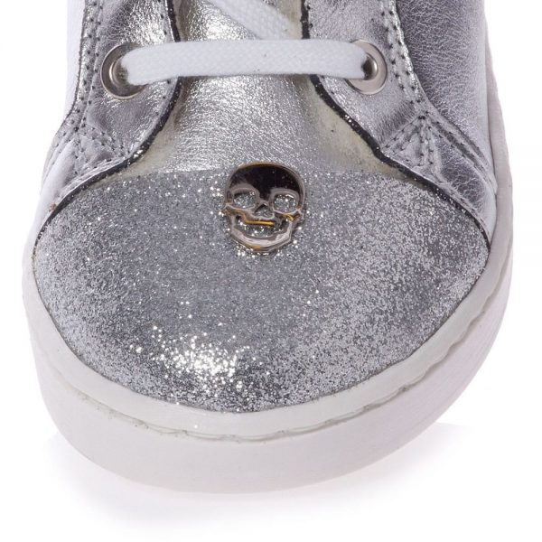 PHILIPP PLEIN Silver Leather High-Top Trainers1