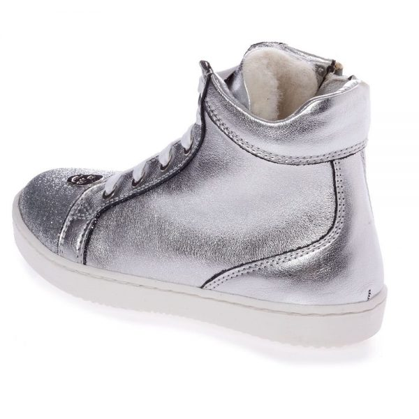 PHILIPP PLEIN Silver Leather High-Top Trainers2