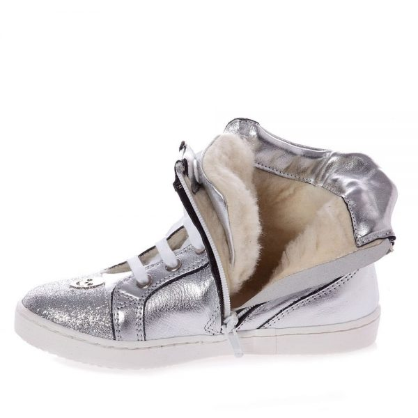 PHILIPP PLEIN Silver Leather High-Top Trainers4