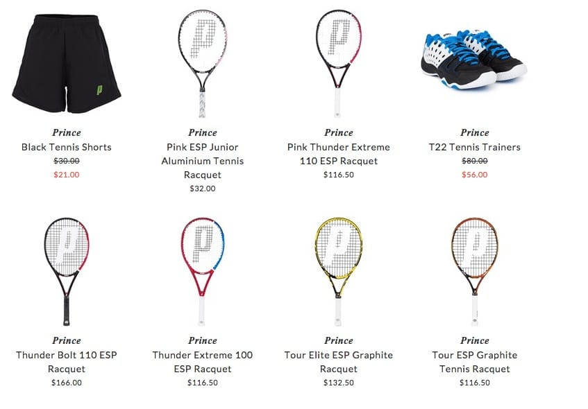 Prince kids tennis clothing & accessories