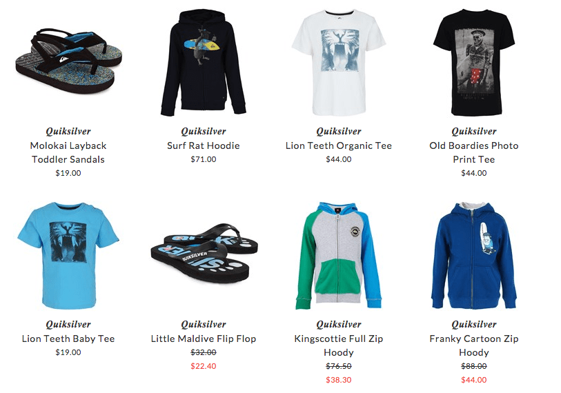 Quiksilver children sport clothing