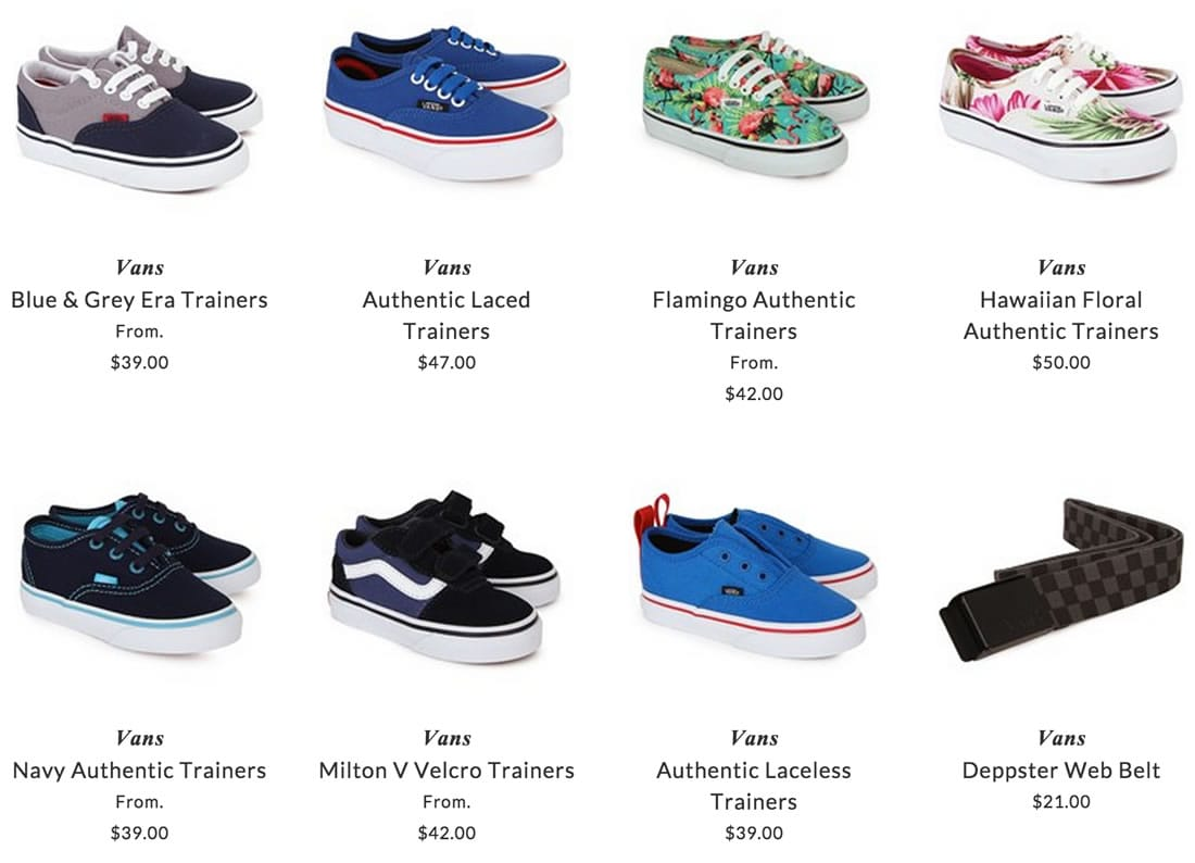 Vans children clothing, shoes & accessories