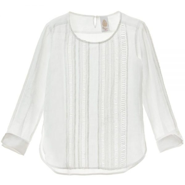 DONDUP Ivory Embroidered Ramie Blouse