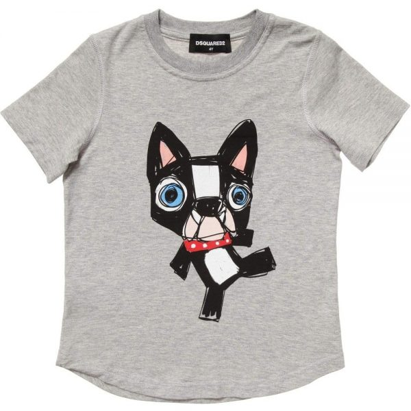 DSQUARED2 Boys Grey Dog Print T-Shirt