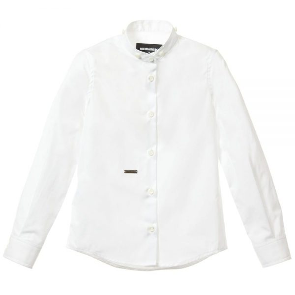 DSQUARED2 Boys White Cotton Shirt with Denim Collar 1