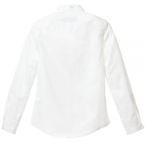DSQUARED2 Boys White Cotton Shirt with Denim Collar 2