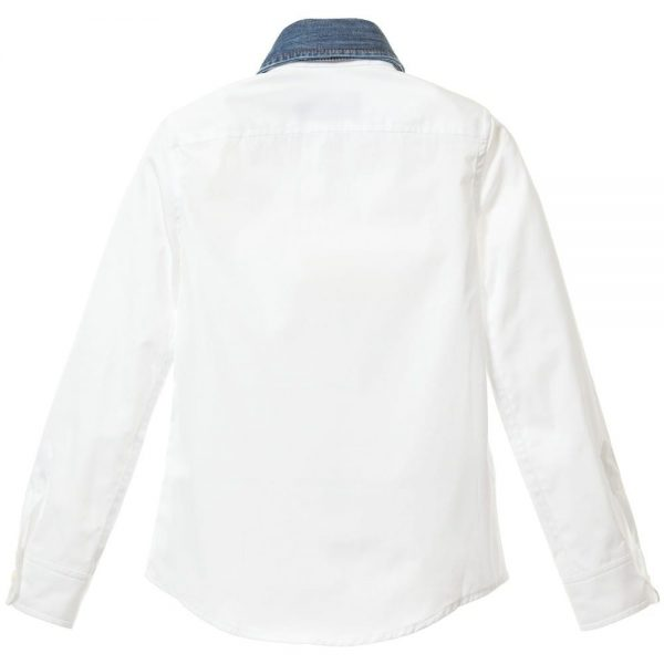 DSQUARED2 Boys White Cotton Shirt with Denim Collar 3