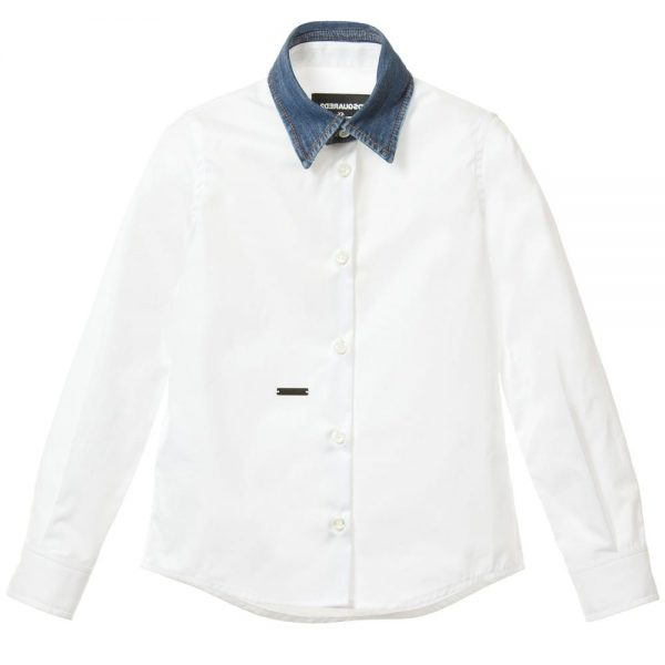 DSQUARED2 Boys White Cotton Shirt with Denim Collar
