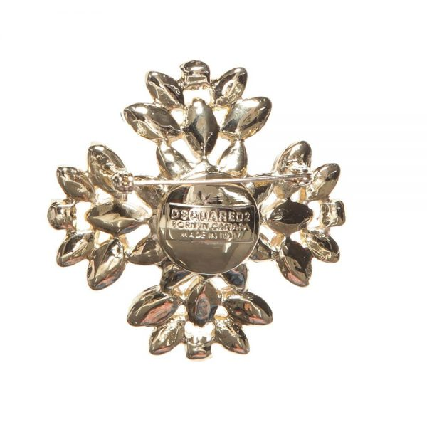 DSQUARED2 Girls Gold and Green Jewelled Brooch 3