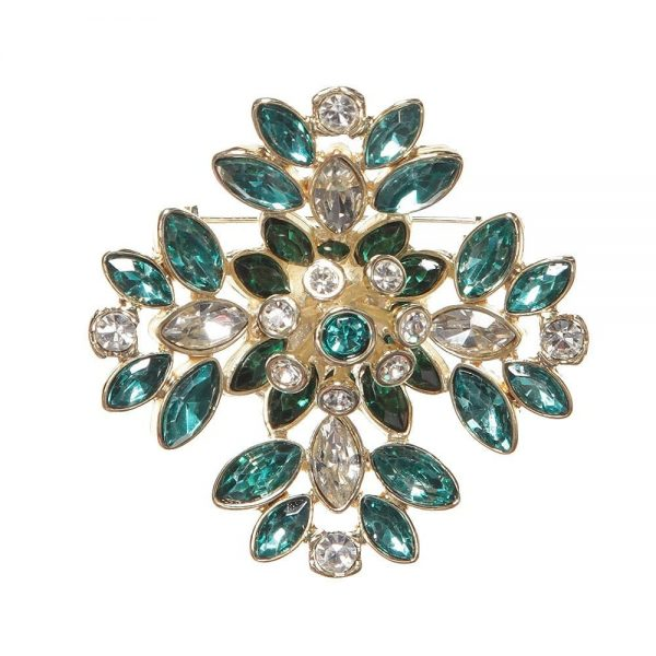 DSQUARED2 Girls Gold and Green Jewelled Brooch