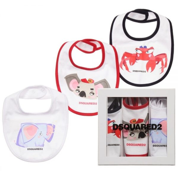 DSQUARED2 White Cotton Animal Bibs Gift Set (Pack of 3)