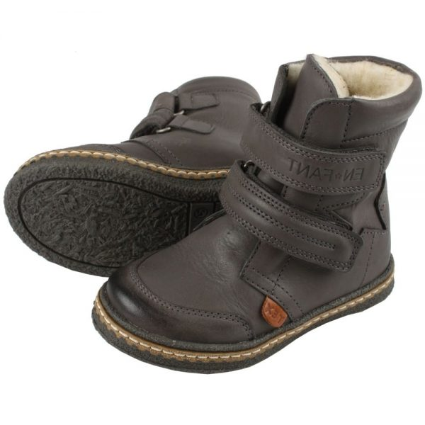 EN FANT Boys Grey Leather Ankle Boots