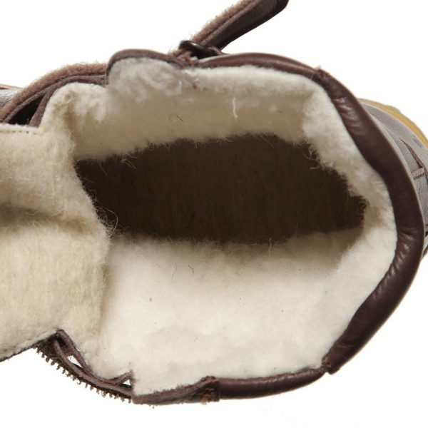 EN FANT Brown Leather Boots With Fur 1