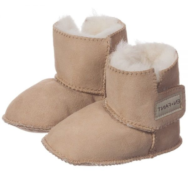 EN FANT Brown Pre-Walker Sheepskin Bootees 1
