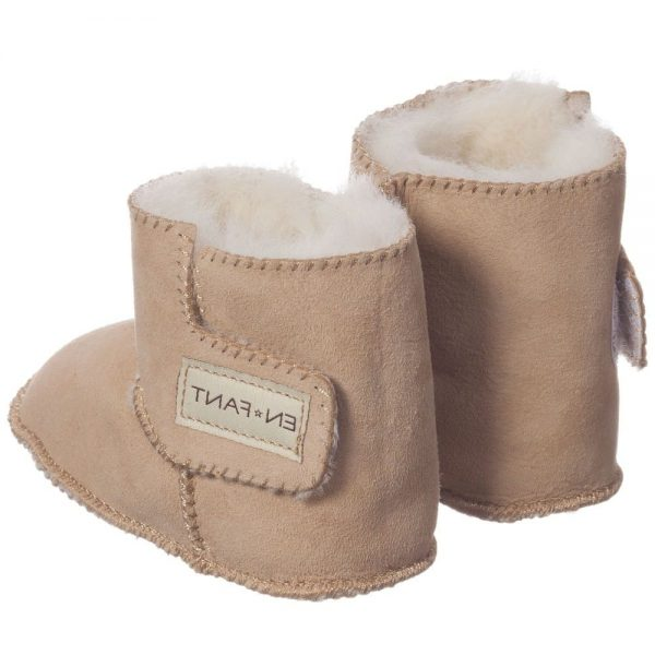 EN FANT Brown Pre-Walker Sheepskin Bootees 4