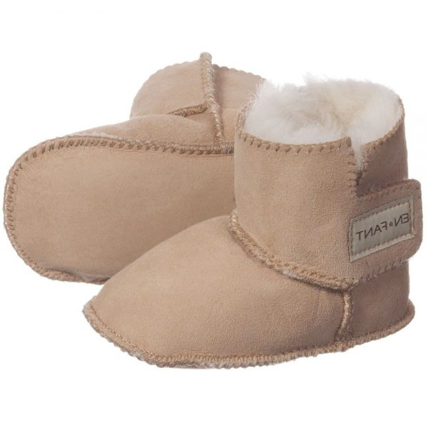 EN FANT Brown Pre-Walker Sheepskin Bootees