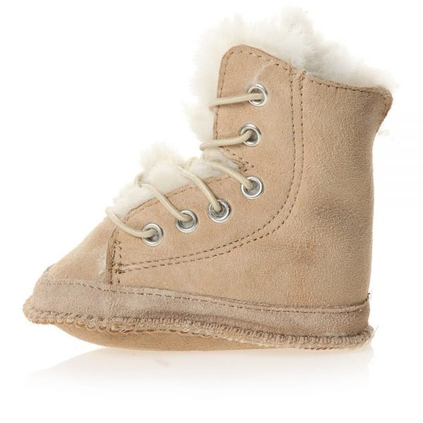 EN FANT Brown Pre-Walker Sheepskin Lace-Up Bootees 1